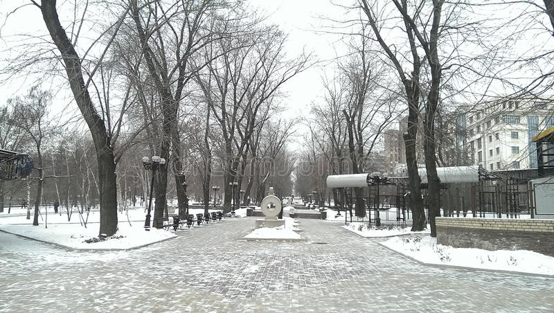 Winter. Walk thruogh the city stock photos