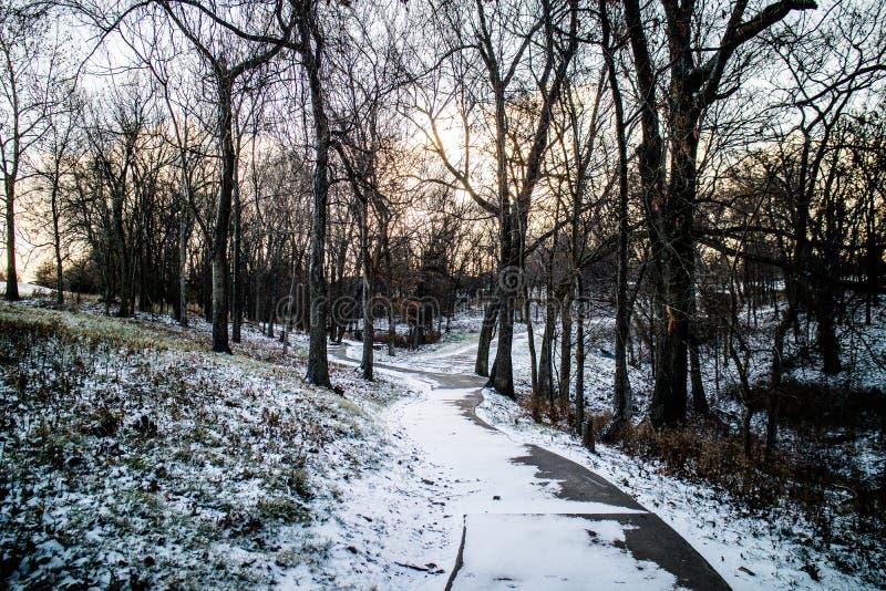 Winter walk way at Grand lake, Oklahoma stock photo