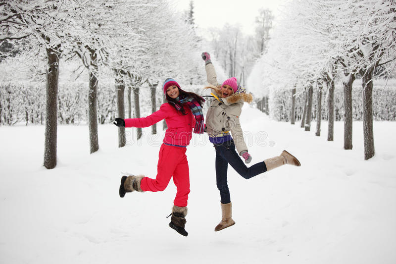 Winter walking royalty free stock photography