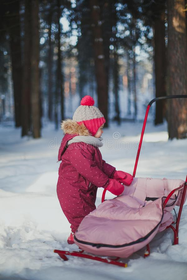 Winter walks with children. A little girl in overalls stands near her sled in the winter forest on a clear day stock photography