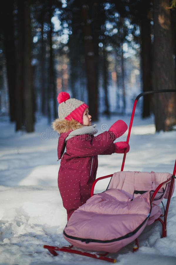 Winter walks with children. A little girl in overalls stands near her sled in the winter forest on a clear day royalty free stock images