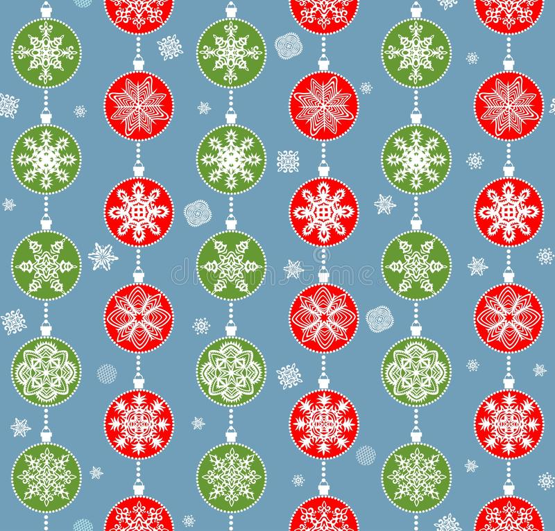 Winter wallpaper with hanging red and green snowflakes vector illustration