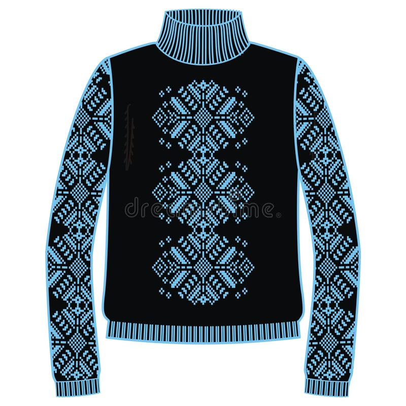 Winter warm sweater handmade, svitshot, jumper for knit, black and blue color. Design - snowflakes jacquard pattern. stock illustration