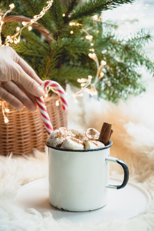 Winter warming mug of chocolate with marshmallow on windowsill with Christmas tree decor and garland. stock photo