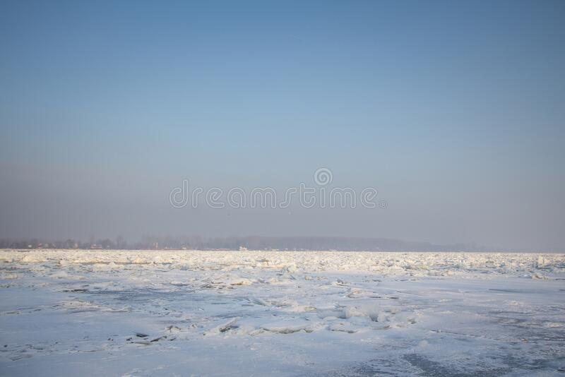 Panorama of the Frozen Danube during the 2017 winter, in Zemun, Belgrade, Serbia with ice popping out of the water. This winter was particularly harsh royalty free stock images