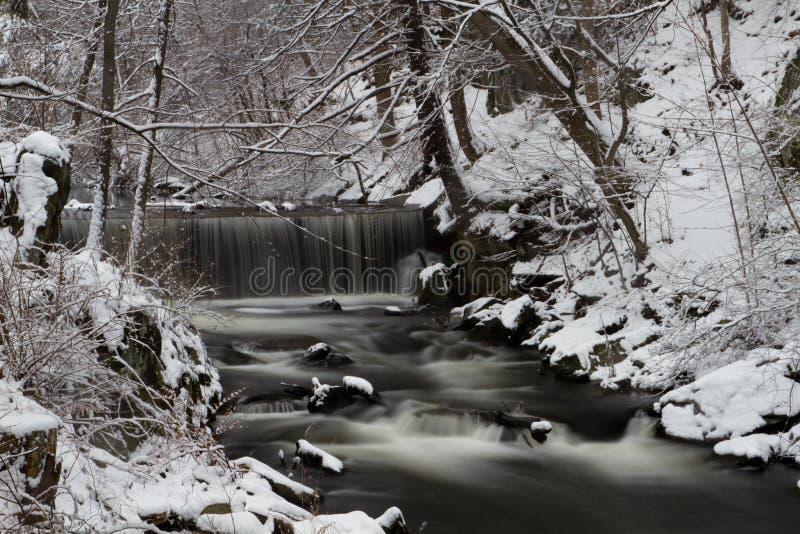 Winter-Wasserfall an der Vanderbilt-Villenstaatsangehörig-historischen Stätte lizenzfreies stockbild