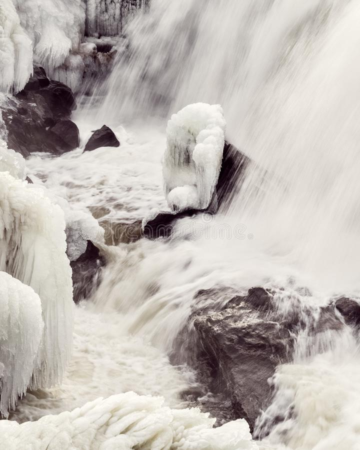 Winter Water Falls, Yantic Falls, Norwich CT royalty free stock image