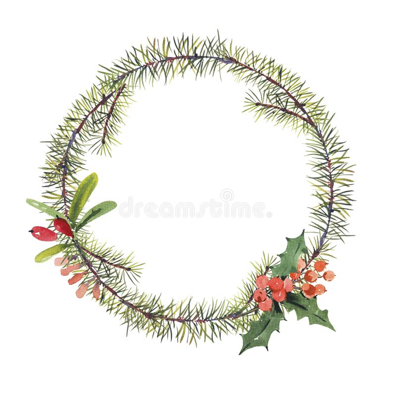 Winter watercolor Christmas round frame with tree branches and b royalty free illustration