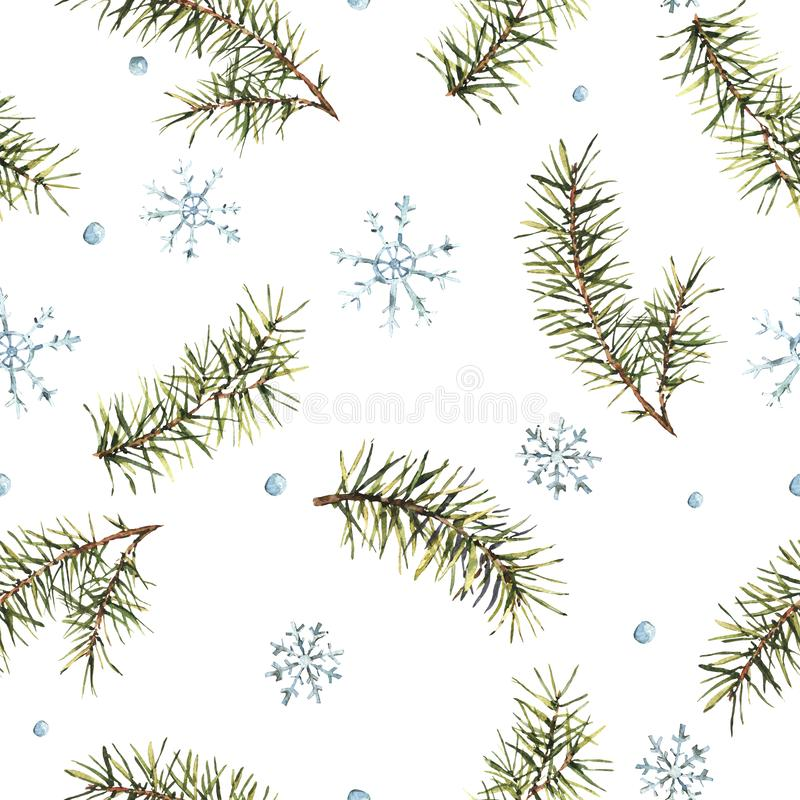 Winter Watercolor Christmas seamless pattern with Tree Branches stock illustration