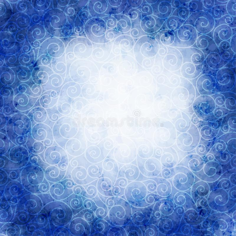 Winter watercolor illustration. round frame with swirls blizzard stock illustration