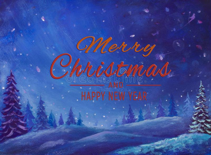 Winter watercolor oil painting illustration artwork. Beautiful words Merry Christmas and Happy New Year art landscape holidays. Christmas Winter background for vector illustration