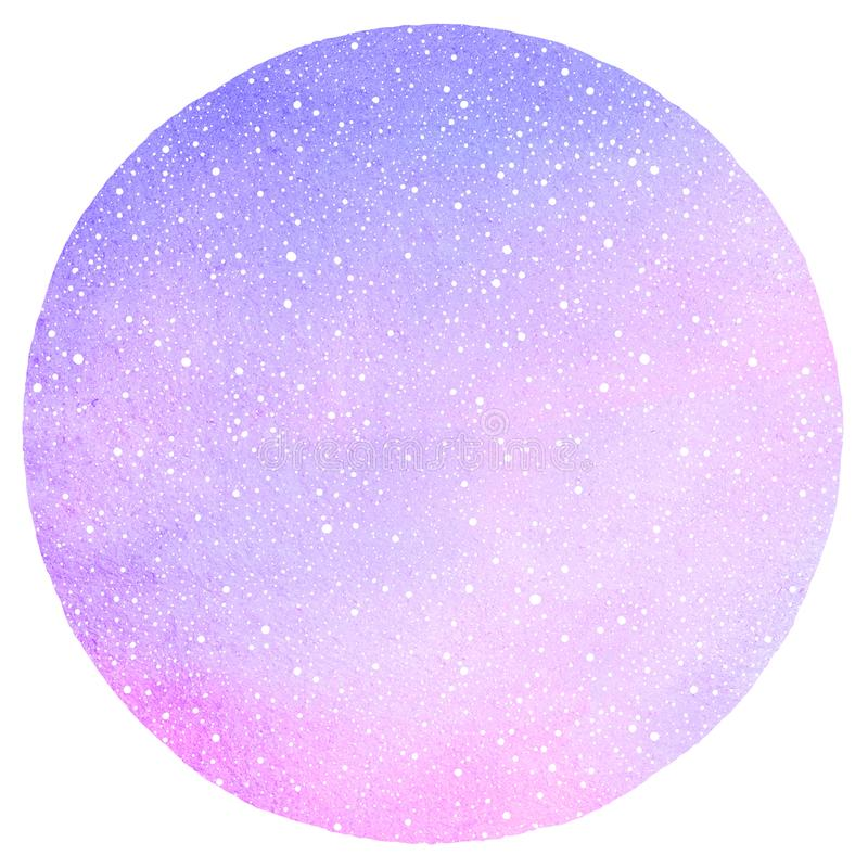 Winter watercolor round background, texture with falling snow. Winter watercolor round background with falling snow dots texture. Circle shape. Christmas, New royalty free illustration