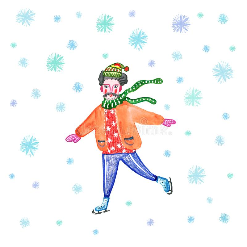 Christmas and New Year illustration with young men skating on ice rink in red warm sweater. royalty free illustration