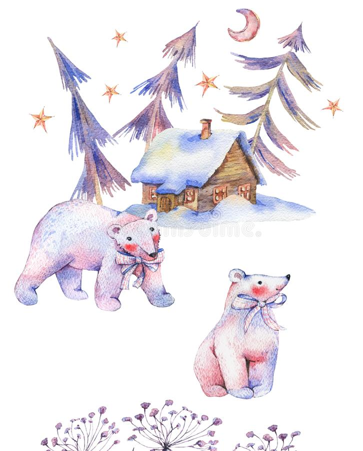 Winter watercolor vintage card with polar bears, magical forest royalty free illustration