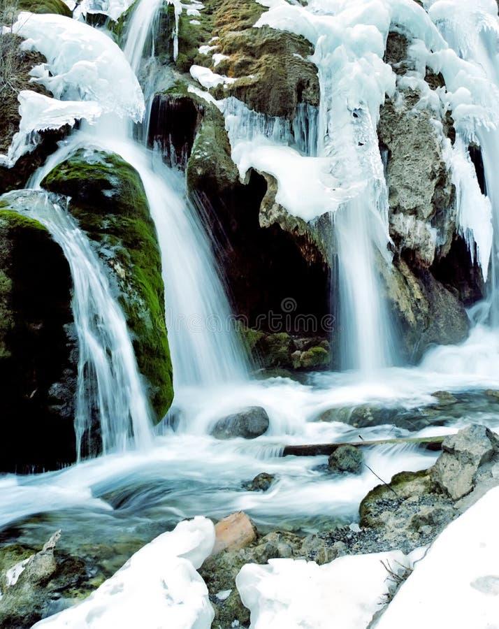 Winter waterfall in jiuzhaigou royalty free stock photo