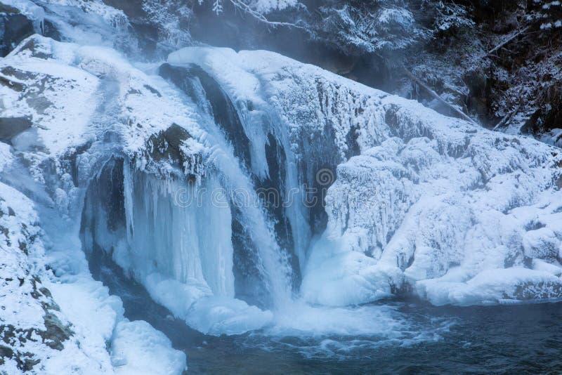 Winter waterfall Kameneckiy in the Carpathian mountains. Ukraine stock photography