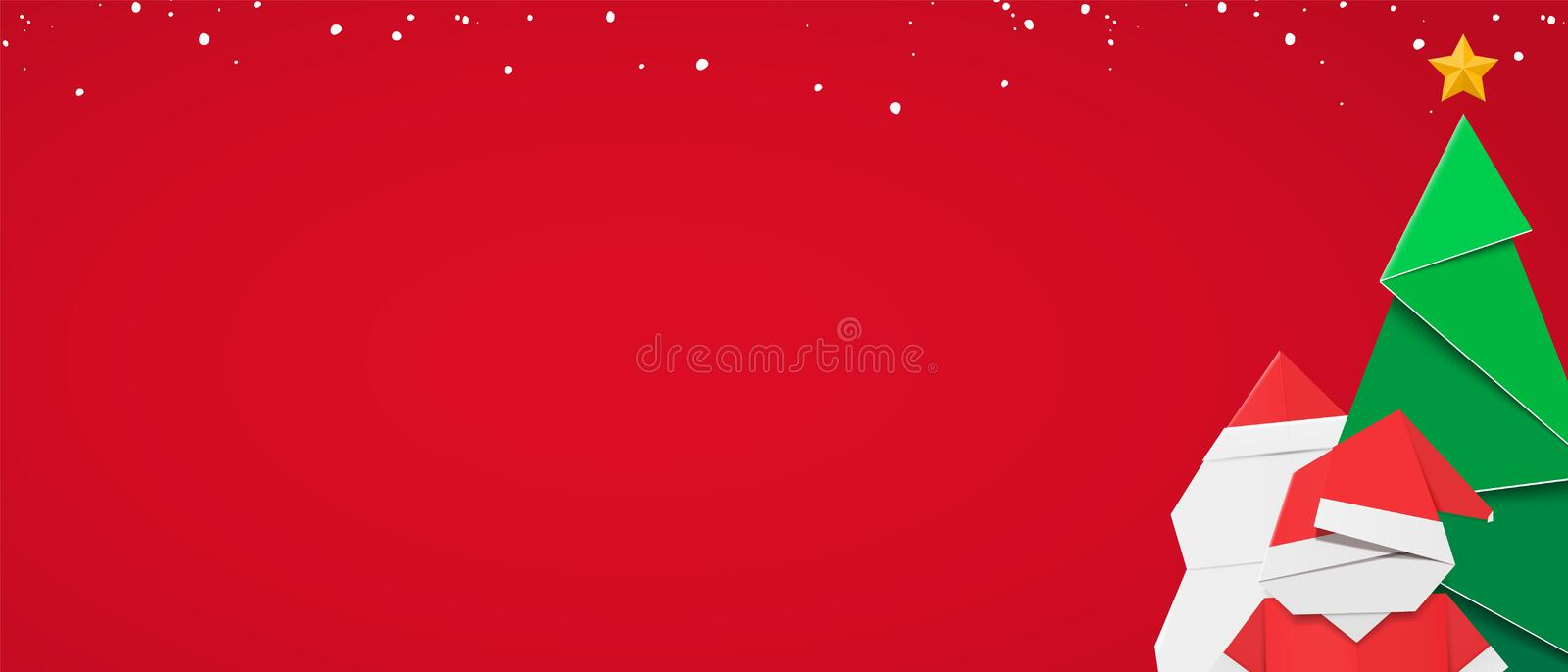 Winter web banner template with red background and christmas composition.  royalty free illustration