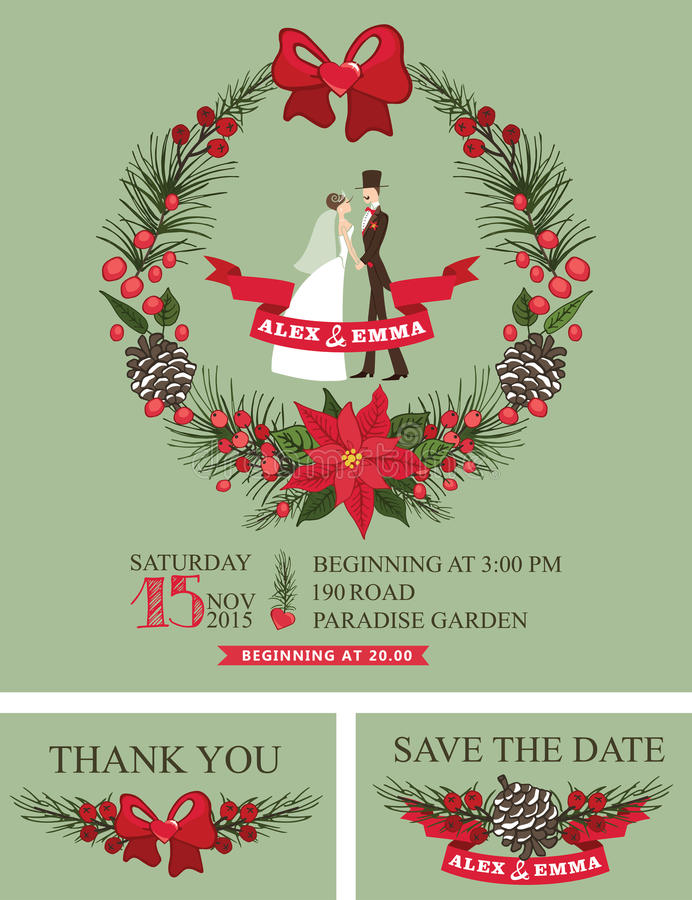 Winter wedding invitation.Retro Bride,groom, stock illustration