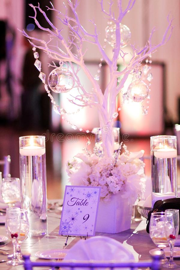 Winter Wedding Reception. Table decorations for a winter wedding stock photos