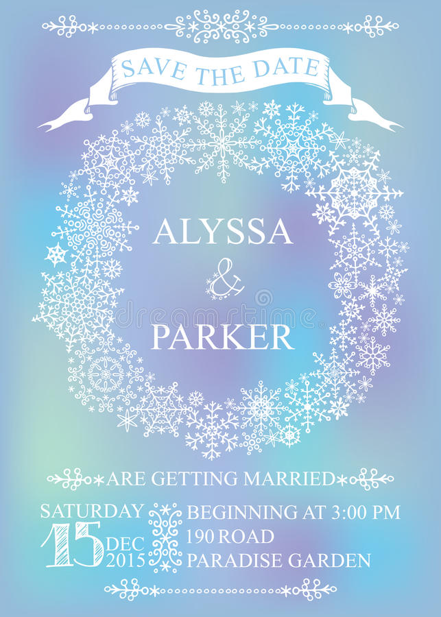 Winter Wedding Save Date Card Snowflakes Wreath Photo – Winter Wedding Save the Date
