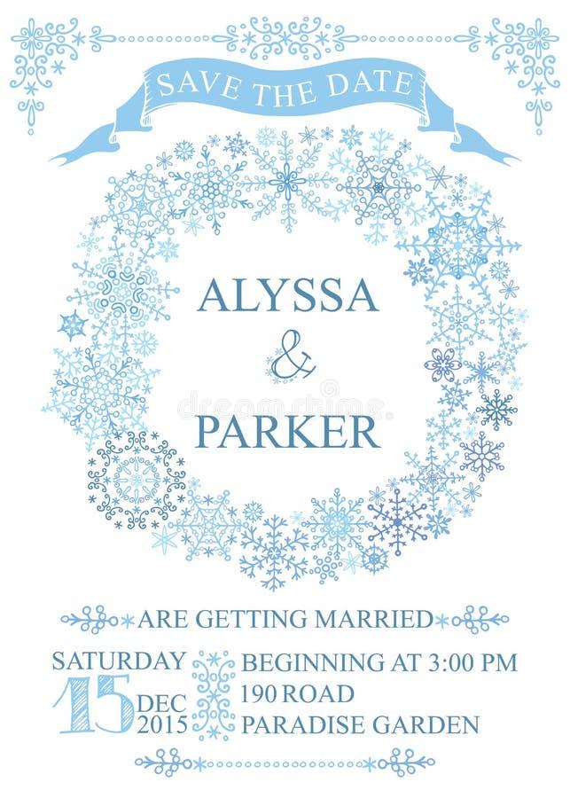 Winter wedding save date card snowflakes wreath stock vector download winter wedding save date card snowflakes wreath stock vector illustration of decor stopboris Choice Image