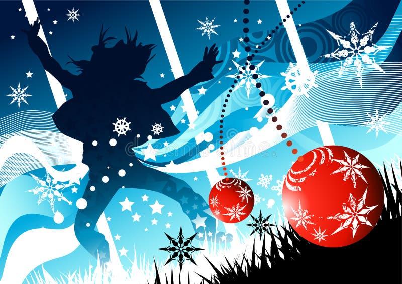 Winter-Weihnachtsfreude stock abbildung
