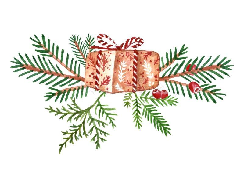 Winter-Weihnachtskranz mit grünen Kieferniederlassungen, roten Beeren und Feriengeschenkkasten Festliche Zusammensetzung für Kart stock abbildung