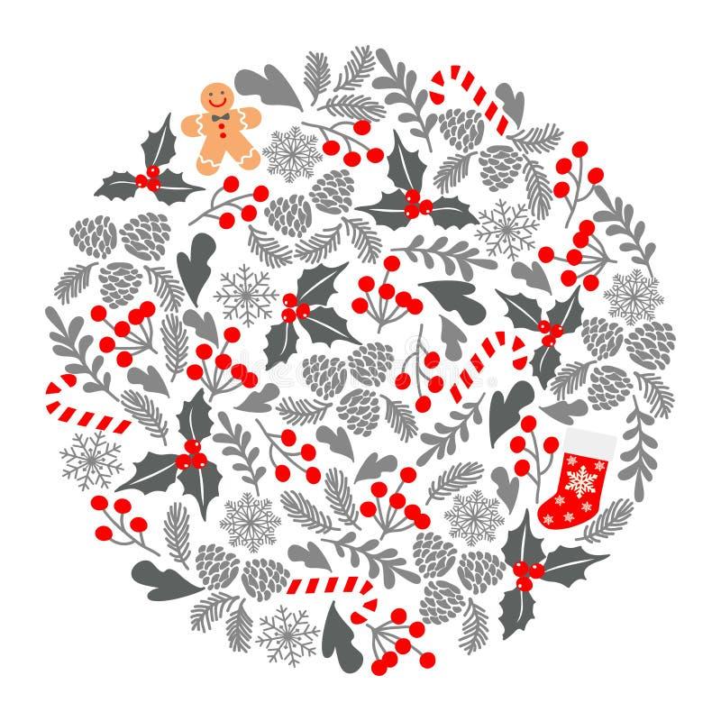 Winter-Weihnachtskreismuster, Vektorillustration Weihnachtsgrußkarte mit Kranz, Weihnachtssocken und Lebkuchen Mann PET vektor abbildung