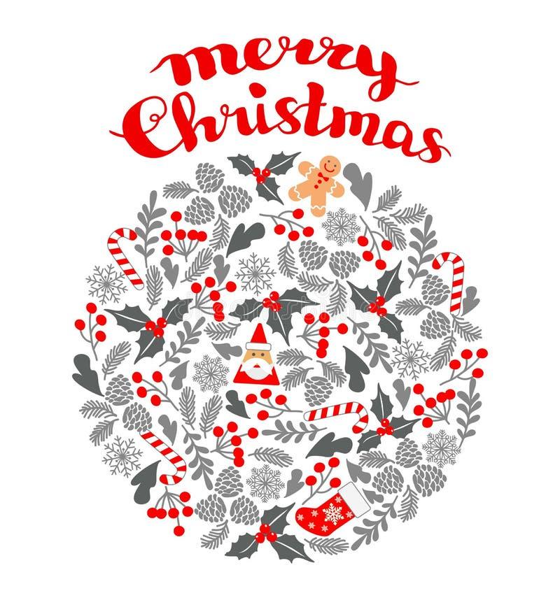 Winter-Weihnachtskreismuster, Vektorillustration Weihnachtsgrußkarte mit Kranz, Weihnachtssocken und Lebkuchen Mann PET stock abbildung