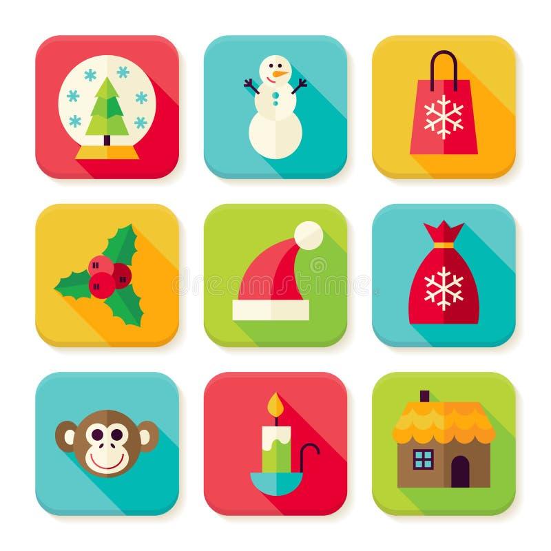Winter-Weihnachtsneues Jahr-Quadrat-APP-Ikonen eingestellt stock abbildung