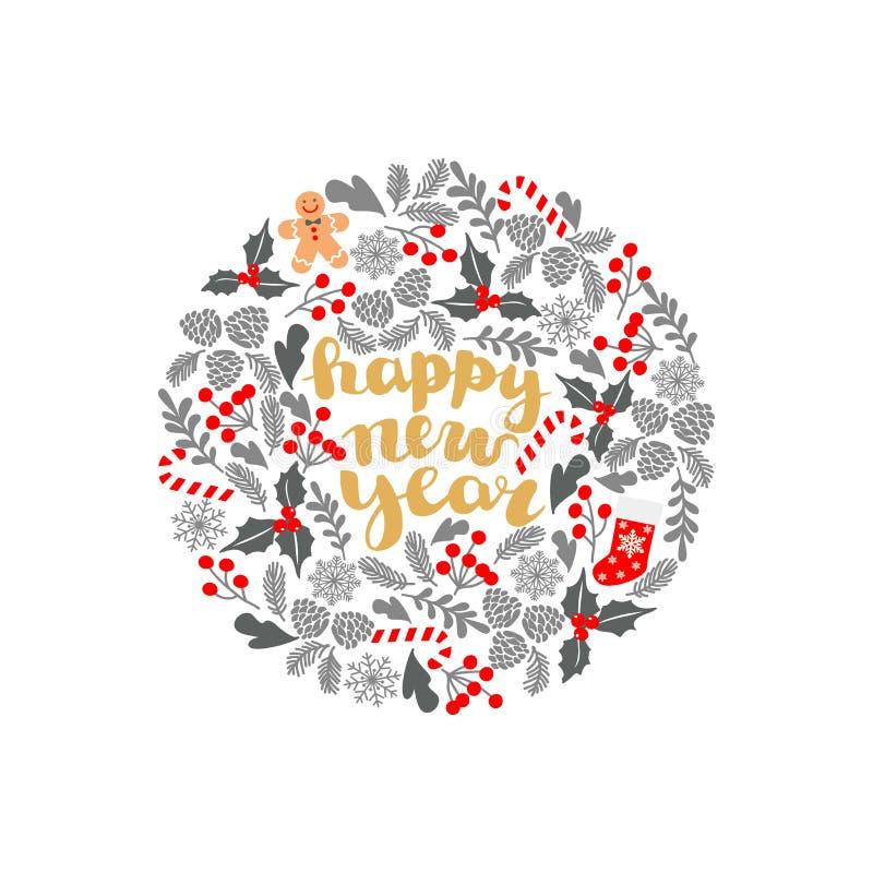 Winter-Weihnachtsrahmen, Vektorillustration Weihnachtsgrußkarte mit Kranz, Weihnachtssocken und Lebkuchen Mann Vervollkommnen Sie stock abbildung