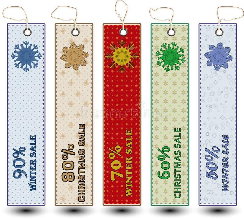 Winter-Weihnachtsverkaufs-Schnee-Tropfen-Karten stockbild
