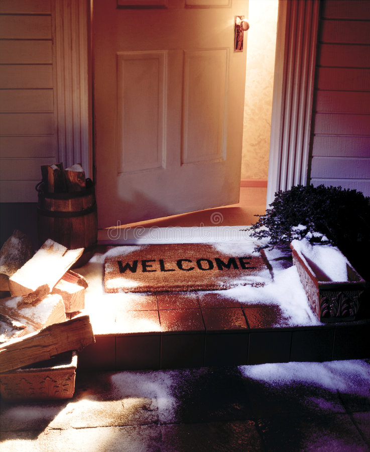 open door welcome mat. Download Winter Welcome Mat With Open Door Stock Photo - Image Of Front, Entrance: O