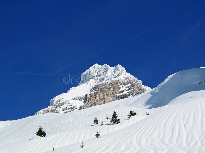 Winter white mountain. In French Alps stock image