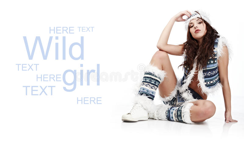Winter wild woman royalty free stock photos