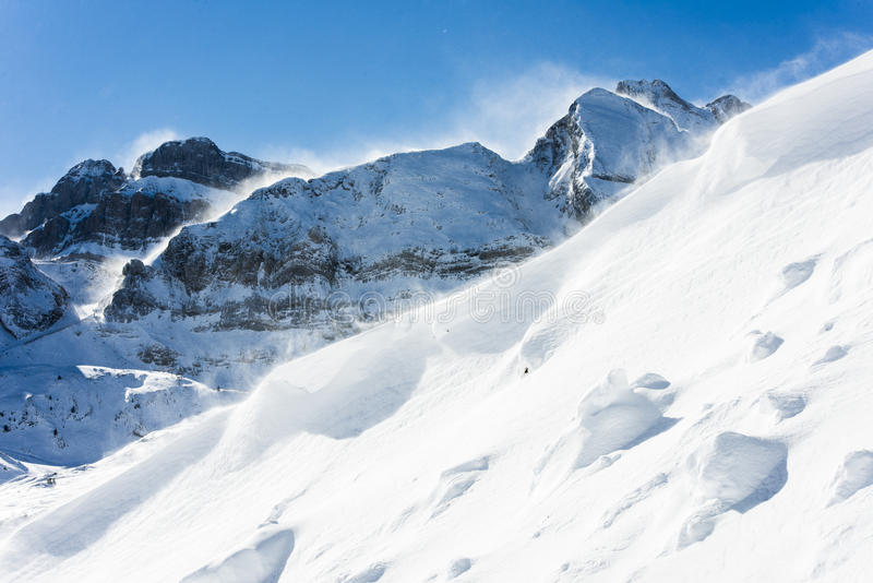 Winter wind. White winter wind, and mountain ridges resemble sea. Snow aquiere whimsical shapes by the wind. This wind only what you see in the Pyrenees royalty free stock photography