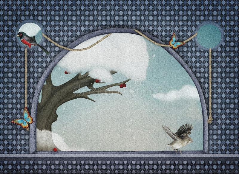Download Winter window stock illustration. Illustration of scenery - 28408857