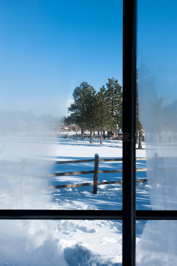Download Winter window view stock photo. Image of fence, scenery - 26105652
