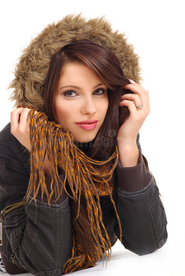 Download Winter woman stock photo. Image of cool, hood, brunette - 3538442
