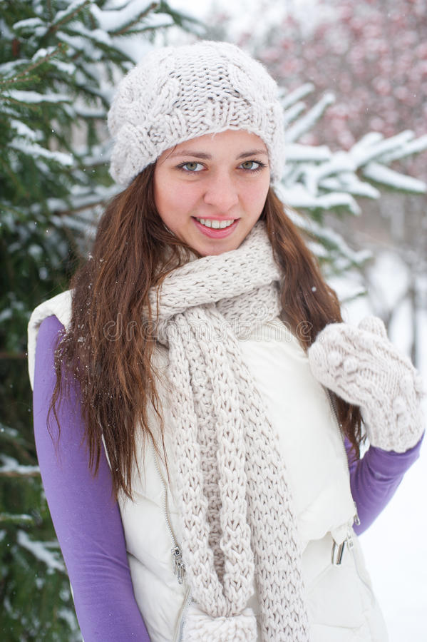 Download Winter Woman Behind Snow Tree Stock Photo - Image: 22241660
