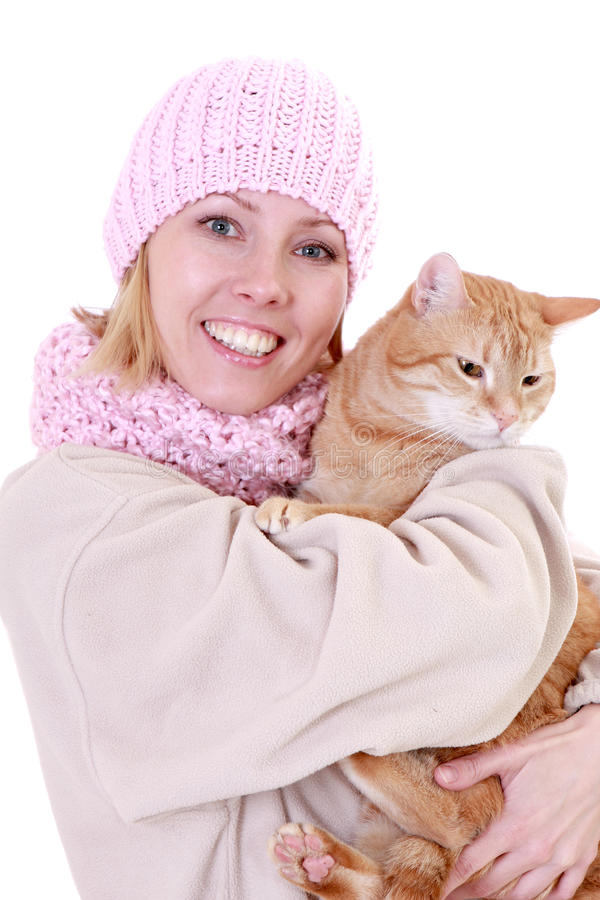 Winter woman with cat royalty free stock photo