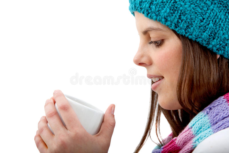 Download Winter Woman Drinking Hot Chocolate Stock Image - Image: 12530023