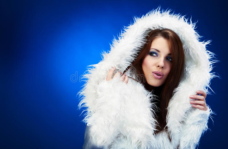 Winter woman, fantasy fashion stock image