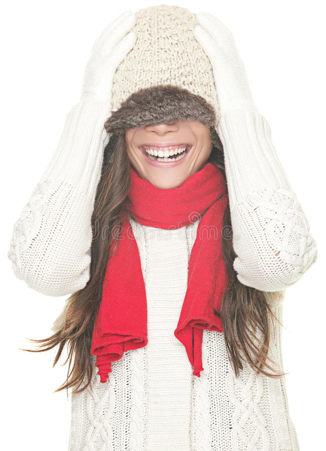 Winter woman fun isolated stock photography