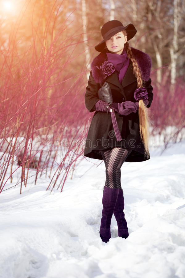 Free Winter Woman On Background Of Winter Landscape, Sun. Fashion Girl In Forest Wonderland. Winter Sunset Scene. Model In Sunlight, B Royalty Free Stock Images - 62345649