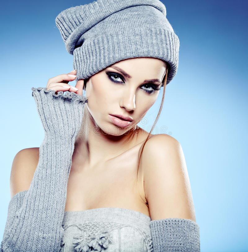Download Winter woman portrait stock image. Image of grey, make - 28319821