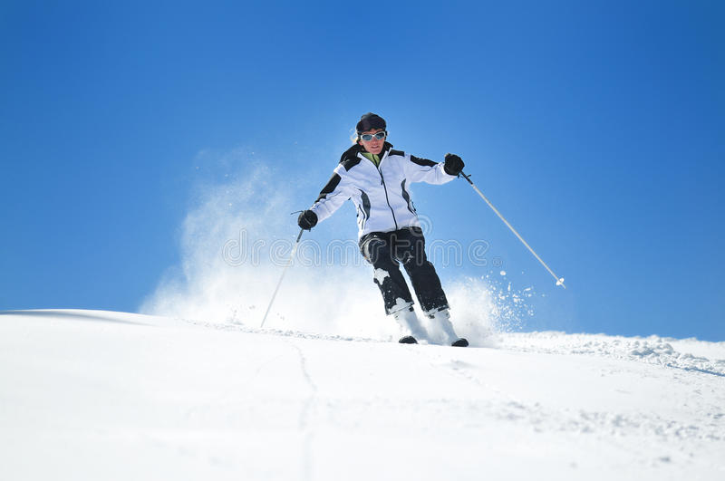 Winter woman ski royalty free stock images