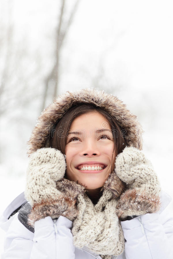 Winter Woman In Snow Royalty Free Stock Photography