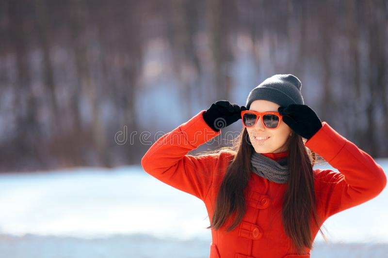 Winter Woman Wearing Sunglasses Outdoors royalty free stock images