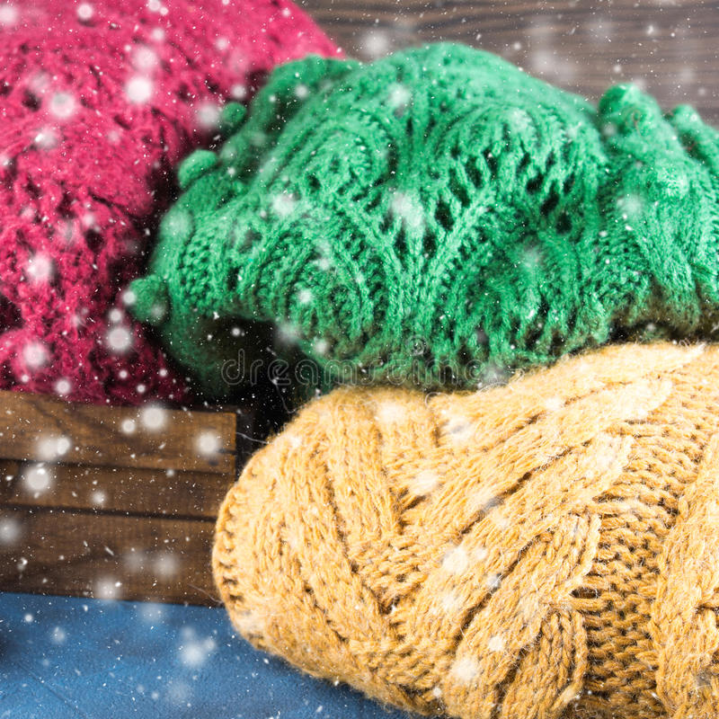 Download Winter Womans Woolen Sweaters. Knitted Clothing. Square Stock Photo - Image: 83720299
